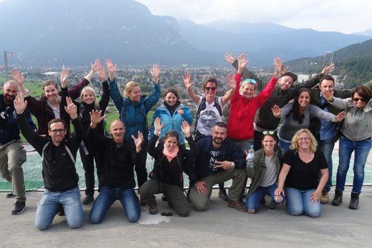 Agenturausflug Garmisch Olympia Sprungschanze Team Berge Bayern