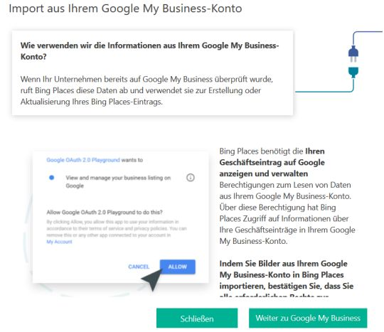 Bing Places aus Google My Business Importieren