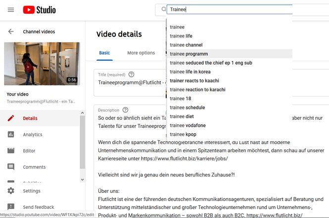 Flutlicht Youtube Marketing Tipps Keywording