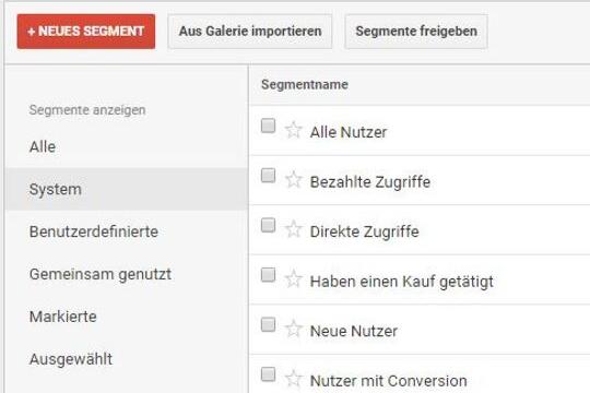 Google Analytics richtig verstehen, Segmente