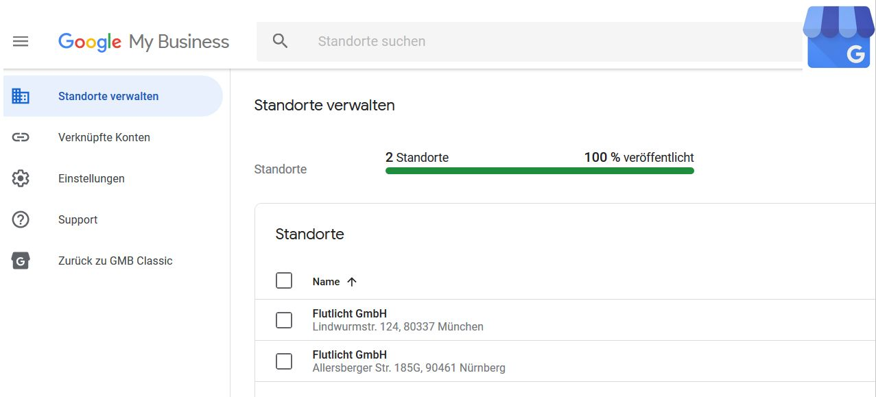 Googlemybusiness Account Flutlicht Standorte