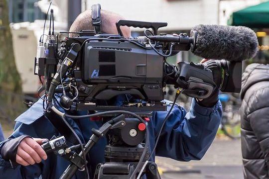 Interviews Auf Messen Kamera Aufnahme Kameramann