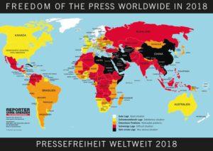 Pressefreiheit Weltkarte ROG Reporter ohne Grenzen Pressefreiheit