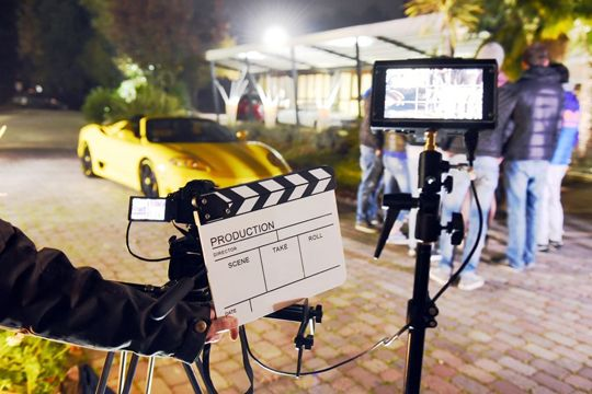 Videoproduktion Filmset Aufnahme Klappe