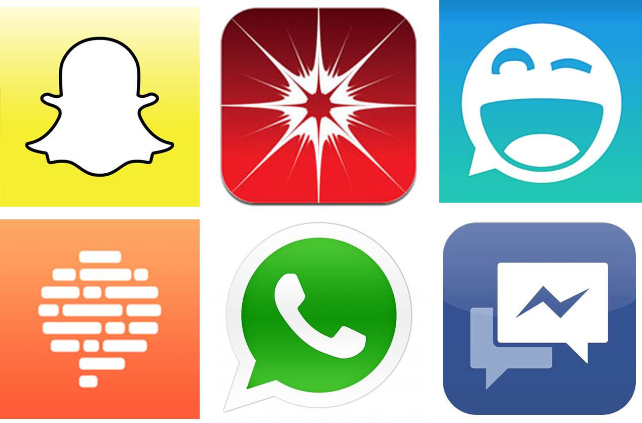 Instant Messenger Logos (von li. nach re.): Snapchat, Wickr, Clipchat, Confide, WhatsApp, Facebook Messenger
