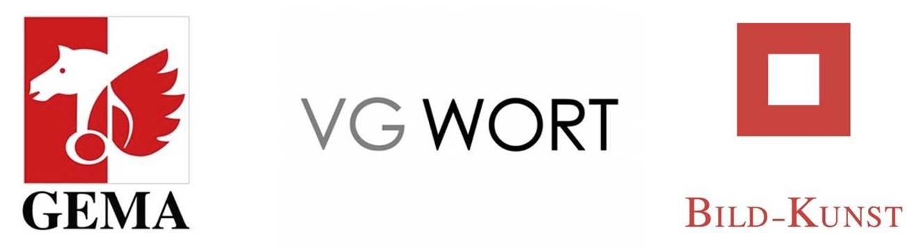 Quelle: Gema Logo: https://www.musikmarkt.de/var/storage/images/aktuell/news/news/europaeische-verwertungsgesellschaften-unterzeichnen-memorandum/6064782-1-ger-DE/Europaeische-Verwertungsgesellschaften-unterzeichnen-Memorandum.jpg  VG Wort Logo: https://www.musikmarkt.de/var/storage/images/aktuell/news/news-in-bearbeitung/vg-wort-will-leistungsschutzrecht-fuer-presseverleger-einfordern/8590166-4-ger-DE/VG-Wort-will-Leistungsschutzrecht-fuer-Presseverleger-einfordern.jpg  VG Bild-Kunst Logo: http://www.bildkunst.de/uploads/media/Bild-Kunst_Logo_Variante3.jpg