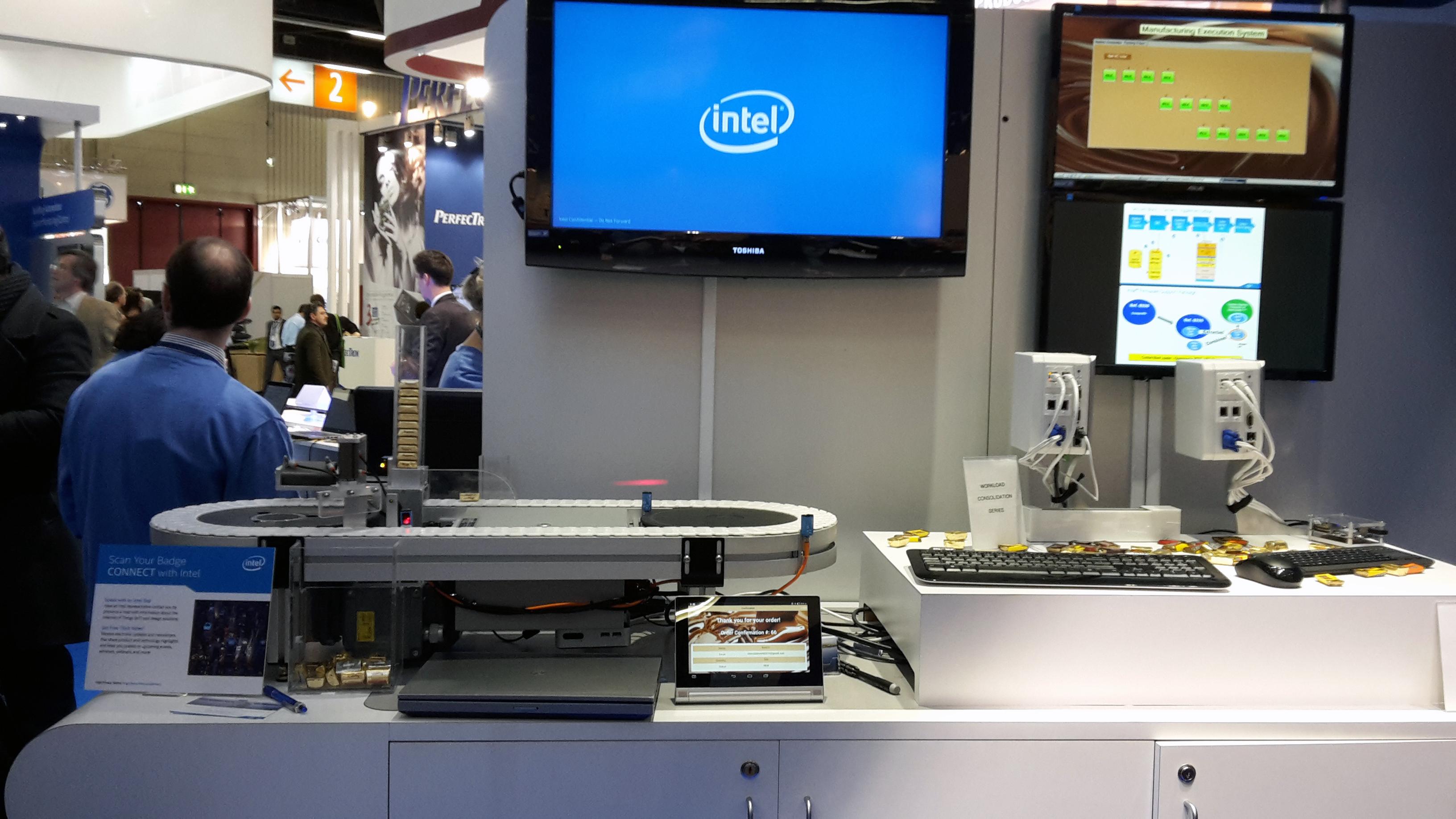 Smarte Schokoladenfabrik - Internet der Dinge Anwendungsszenario bei Intel, Intel Stand Halle 1/1-328