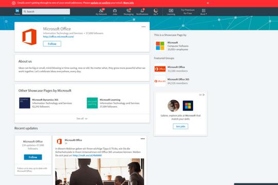 Fokusseiten Microsoft LinkedIn