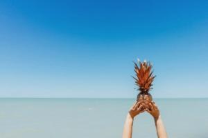 Personal Branding Strand Meer Horizont Ananas Hände