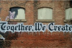Arbeitgebermarke Teamwork Mural Hauswand Klinker