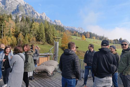 Flutlicht Team Event, Hotel Terrasse, Berge, Leogang
