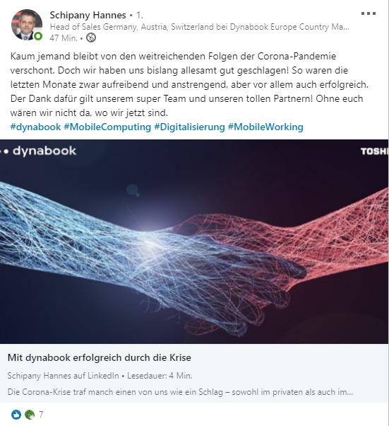 LinkedIn Pulse Artikel, Beispiel, Hannes Schipany, dynabook Europe GmbH